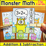 Addition and Subtraction Math Facts Clip Cards - Monster Math Theme