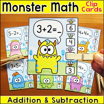 Addition and Subtraction Math Facts Clip Cards - Monster M