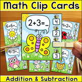 Addition and Subtraction Clip Cards Math Center - Spring and Summer Theme