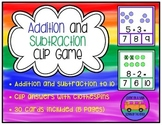 Addition and Subtraction Clip Game