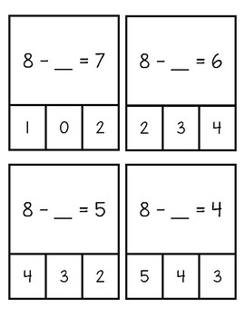 Addition and Subtraction Clip the Missing Number Cards