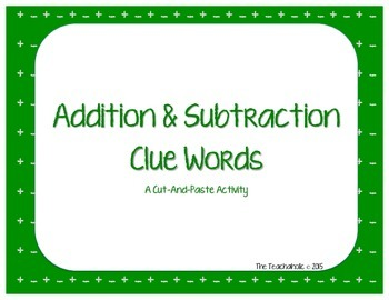 Addition and Subtraction Clue Words Cut and Paste