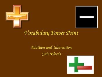 Addition and Subtraction Code Words Powerpoint