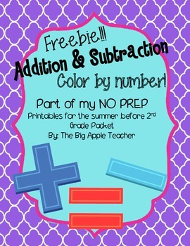 Addition and Subtraction Color By Number