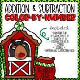 Addition and Subtraction Color-By-Number Christmas Themed