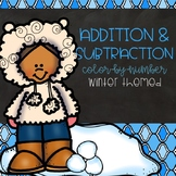 Addition and Subtraction Color-By-Number Winter Themed