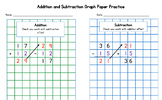 Addition and Subtraction Practice with Color Coded Graph Paper!