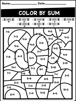 Addition and Subtraction Color by Code