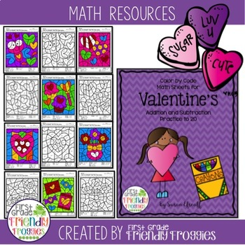 Math Coloring Sheets -Addition and Subtraction Color by Code for Valentine's Day