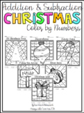 Addition and Subtraction Color by Numbers - Christmas Themed