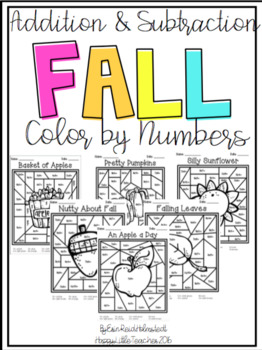 Addition and Subtraction Color by Numbers-Fall Themed