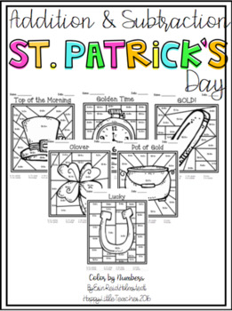 Addition and Subtraction Color by Numbers-St. Patrick's Day Themed