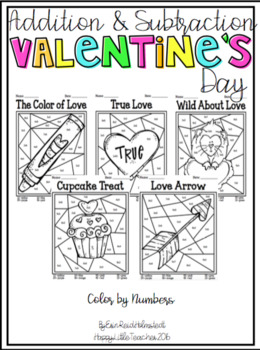 Addition and Subtraction Color by Numbers-Valentine's Day Themed