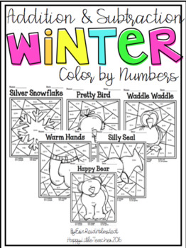 Addition and Subtraction Color by Numbers-Winter Themed