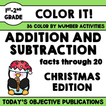 Addition and Subtraction Coloring Sheets (Christmas Edition)