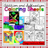 Addition and Subtraction Colouring Worksheets