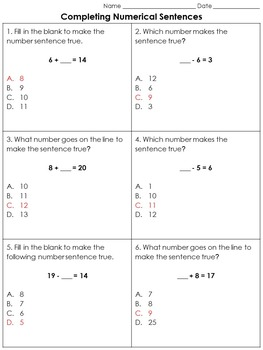 Addition and Subtraction: Completing Numerical Sentences Practice Sheets #1