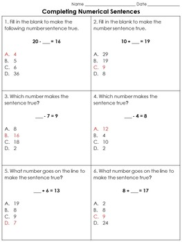 Addition and Subtraction: Completing Numerical Sentences P