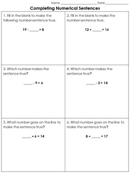 Addition and Subtraction: Completing Numerical Sentences Practice Sheets #2