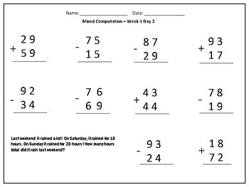 Addition and Subtraction Computation Problems - Two and Three Digit numbers  -