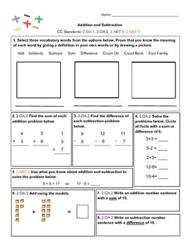 Addition and Subtraction Concepts Assessment