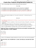 Addition and Subtraction: Create Story Problems Practice Sheets #1