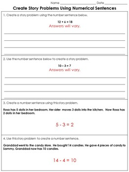 Addition and Subtraction: Create Story Problems Practice Sheets #2
