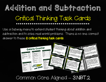 Addition and Subtraction Critical Thinking Task Cards (3.NBT.2)