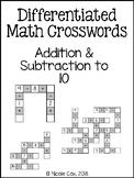 Addition and Subtraction Crosswords - making 10 within 20