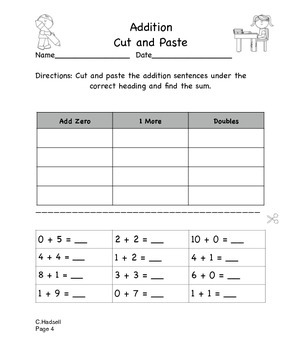 Addition and Subtraction Cut and Paste
