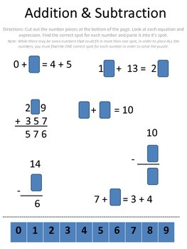 Addition and Subtraction Cut and Paste Activity