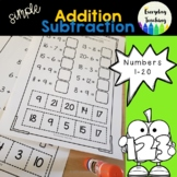 Addition and Subtraction: Cut and Paste Activity Worksheets