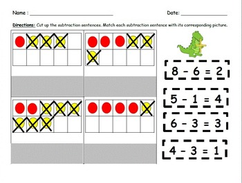 Addition and Subtraction Cut and Paste Practice