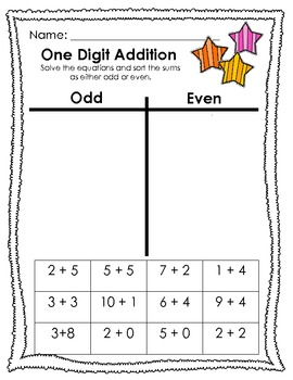 Addition and Subtraction Cut and Paste with Odd/Even Practice