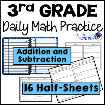 Addition and Subtraction Daily Math Review 3rd Grade Bell Ringers Warm Ups