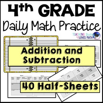 Addition and Subtraction Daily Math Review 4th Grade Bell Ringers Warm Ups