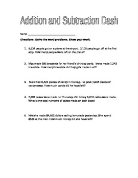 Addition and Subtraction Dash