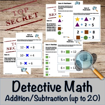 Addition and Subtraction Detective Math Bundle- math facts up to 20