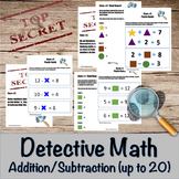 Addition and Subtraction Detective Math Bundle- math facts