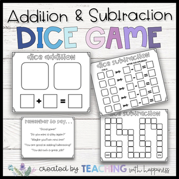 Addition and Subtraction Dice Game