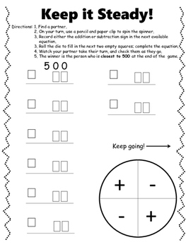 Addition and Subtraction Dice Games! NO PREP