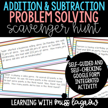 Addition and Subtraction Digital Multi-Step Word Problems Problem Solving Hunt