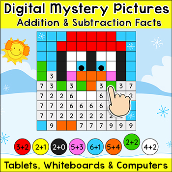 Addition and Subtraction Digital Mystery Pictures - Winter Theme