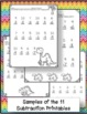 """Addition and Subtraction Dinosaur Themed Worksheets with """"Tap 'n Count"""" points"""