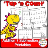 """Addition and Subtraction Dinosaur Themed Worksheets with """""""