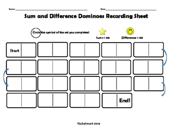 Addition and Subtraction Dominoes : Sums and Differences 1-10 and 1-20
