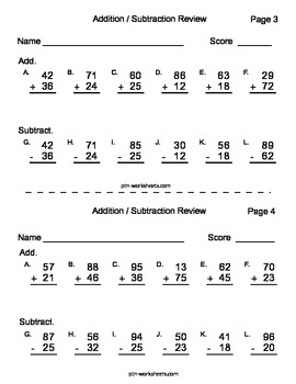 Addition and Subtraction Double Digit Review Pages - 5 pages - PDF