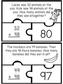 Addition and Subtraction Double Digit Word Problem Puzzles