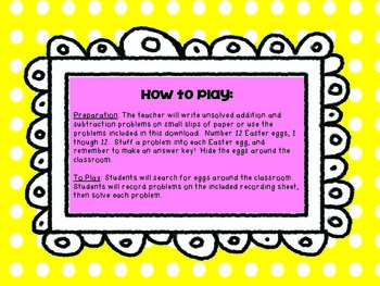 Addition and Subtraction Egg Hunt: A Primary Math Center