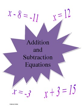 Addition and Subtraction Equation File Folder Games